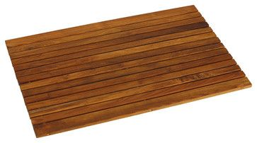Cosi Wood Spa String Mat, Solid Oiled Teak transitional-bath-mats