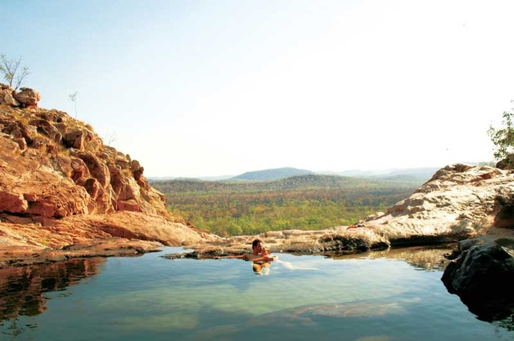 #Gunlom Falls top pool, NT. The falls are accessible by 4WD vehicles along the Gunlom Track, near the southern entrance to Kakadu National Park. - http://vacationtravelogue.com Easily find the best price and availability - http://wp.me/p291tj-7n