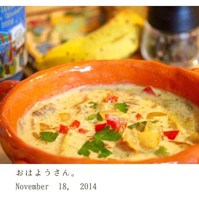 寒い朝に暖かい野菜スープにしました(^^)豆乳を使いました( ´ ▽ ` )ノ - 50件のもぐもぐ - 根菜とパプリカの白いスープ by yasuko691