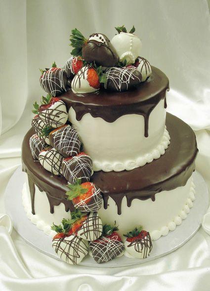 Mrs. Maddox ~ Cascading Strawberry Wedding Cake Farmington Hills, MI