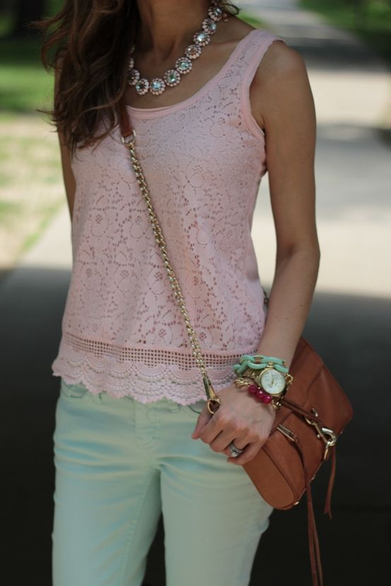 Lace top, mint capris, gold watch, chunky sparkle necklace