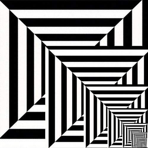 how this artwork decends from being huge to being small,optical illusion.