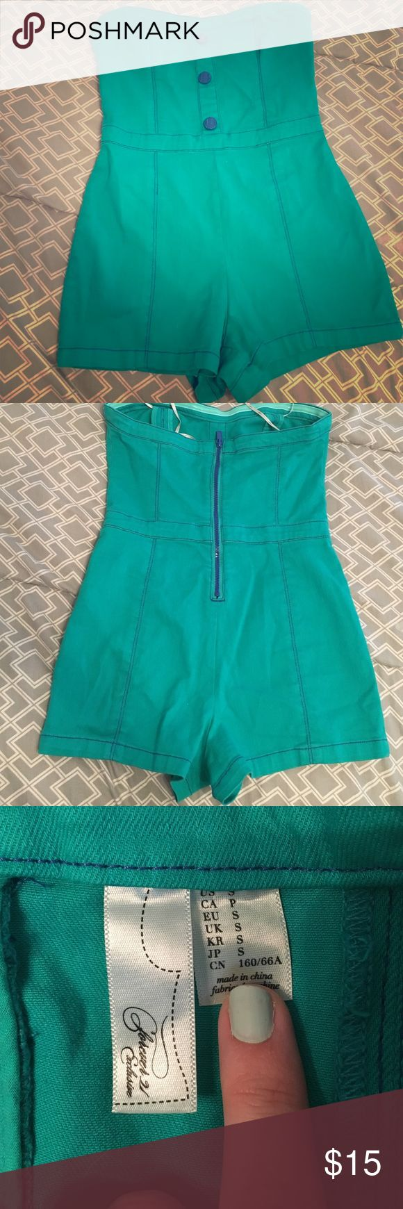 Jean romper Teal jean romper with blue buttons and zipper. Never worn Forever 21 Dresses