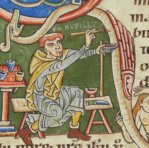 Rare self-portrait of a medieval artist. Cologny, Collection Martin Bodmer, MS 127 (12th century).