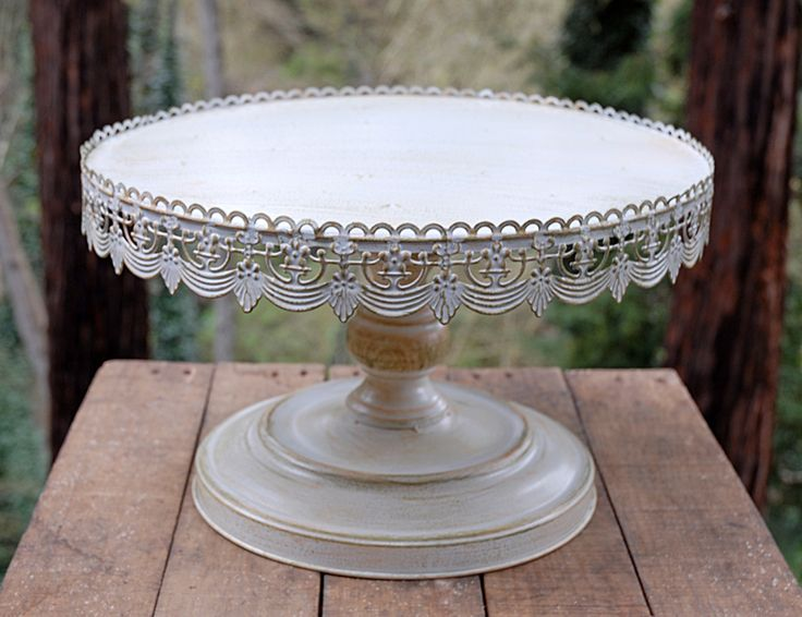 Vintage Metal Cake Stand White 16in for use with 14, 10, 6 inch rounds