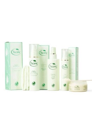 Set Contains:  1. Smoothing Cleanser 2. Vitamin Toner Refreshing Spritz 3. Skin Revive Firming Nourishing cream 4. 100% Organic Bamboo Cloth 5. FREE Face Smooth Polish  Send your Skin to Paradise with our natural, purely plant derived skin care set. Learn more at https://www.tropicskincare.co.uk/shop/gina/products.html