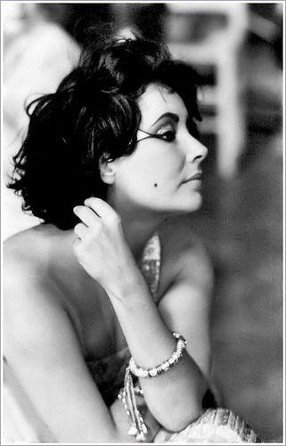 Elizabeth Taylor on the set of Cleopatra.