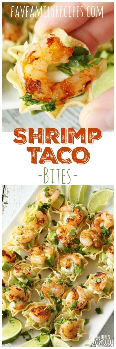 These shrimp taco bites are the perfect appetizer for when you don't have a lot of time. These can be made in less than 15 minutes! You will love the flavor of these tasty little bites! #shrimptacos #appetizer #newyears #superbowlfood #superbowl #Mexicanfood #shrimp via @favfamilyrecipz