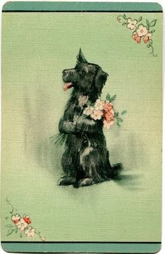 Vintage Swap Playing Card Gorgeous Gibson Puppy DOG