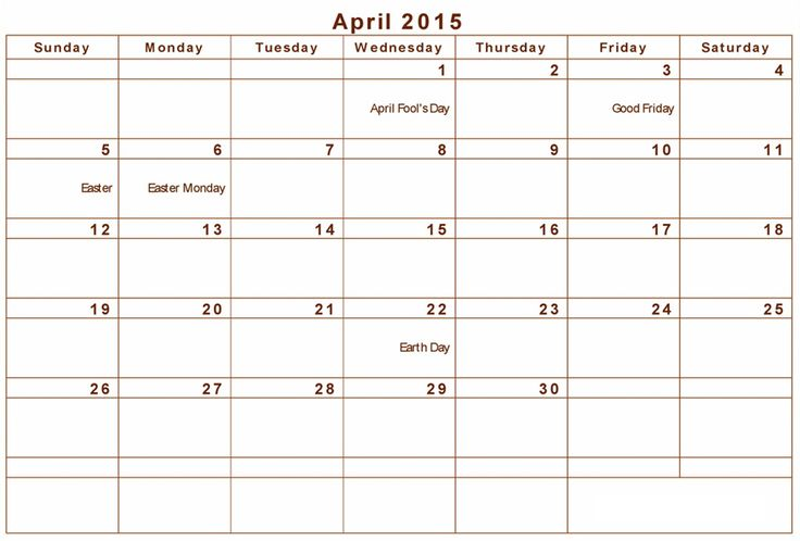 April 2015 Calendar with Holidays | April 2015 Calendar with Holidays – View the month calendar of April ...