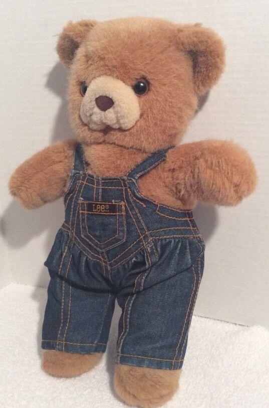Vintage Teddy Bear Wearing Lee Jeans Overalls Denim | eBay ...