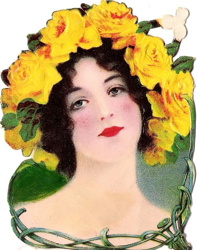 Oblaten Glanzbild scrap die cut chromo Dame femme 11,5 cm Jugendstil art nouveau