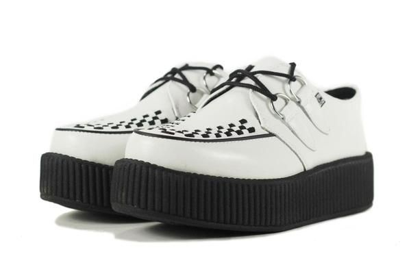 T.U.K. for Women: White Leather Viva Mondo Creeper -These white leather T.U.K. Viva Mondo Creepers look sharp and feel light with the new lightweight and more