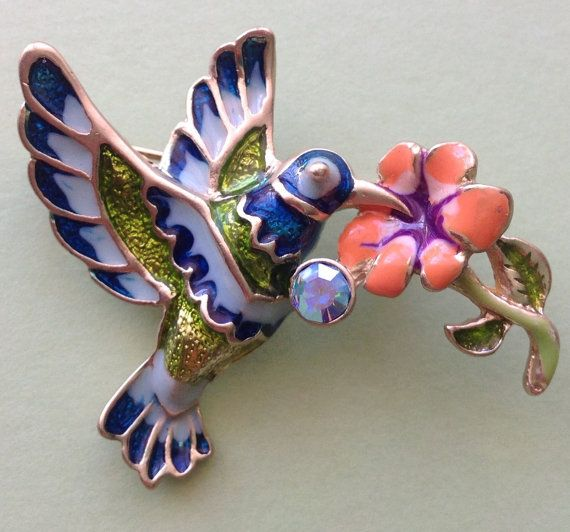 Hummingbird 1950s enamel brooch signed TC by AgainAgainVintage, $38.25