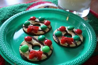 Wreath cookies...easy for kids to make!! That's MY kind of cookie! :)