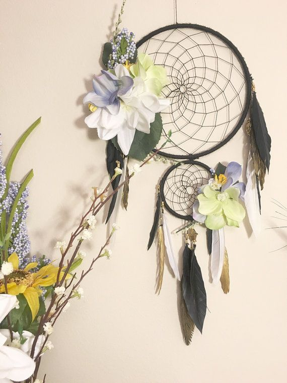 Dreamcatcher, Golden Soul in Bloom, Flower Dreamcatcher, Large Dream Catcher, Black Dreamcatcher