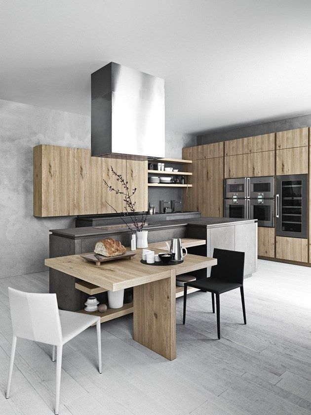 Kitchen in cold natural colors: grey, black, white, wooden in minimalist style