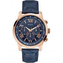 GUESS Horizon Chronograph Rose Gold Blue Leather Strap W0380G5