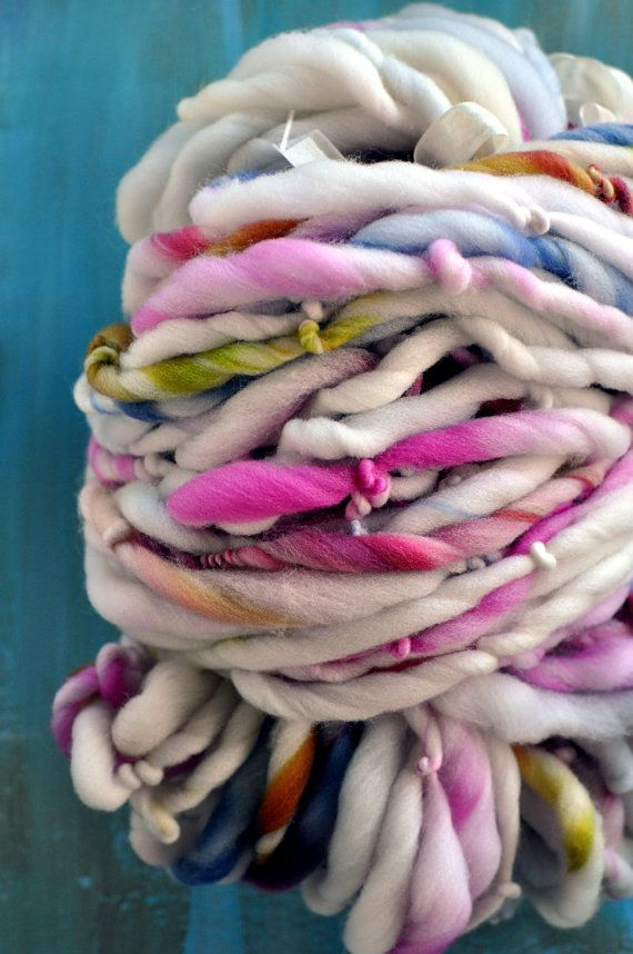 Knitting Handspun Yarn : Handspun yarn bulky whisked yds blue cream beige pink