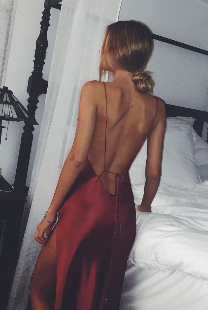 Red silk gown with plunge back