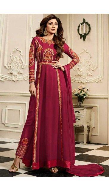 Shlipa Shetty Maroon Georgette Anarkali Churidar Suit With Dupatta - DMV14796