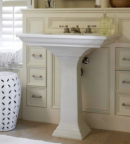 Small Sink And Pedestal : Make a Small Bath Look Larger Pedestal Sink, Pedestal and Sinks