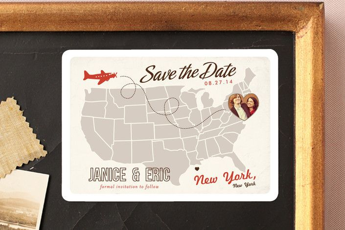 save the date magnet, up and away by unless someone like you for minted