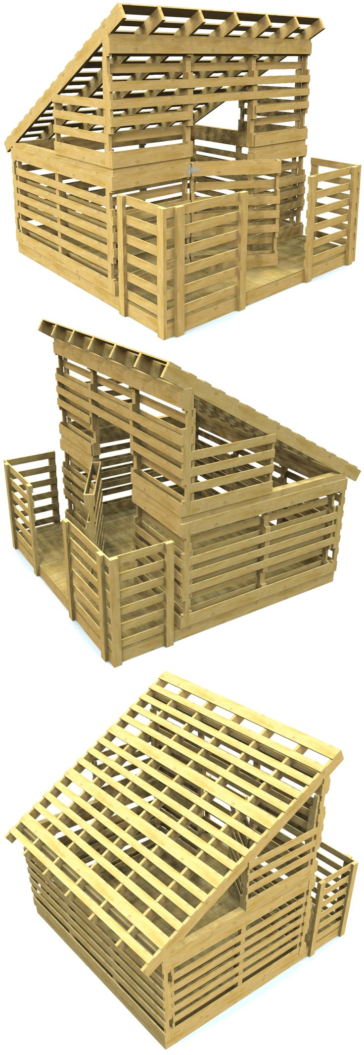 A free pallet based clubhouse design for kids.  If you have 25 or so pallets and some tools, you can download these plans for free and get started today!