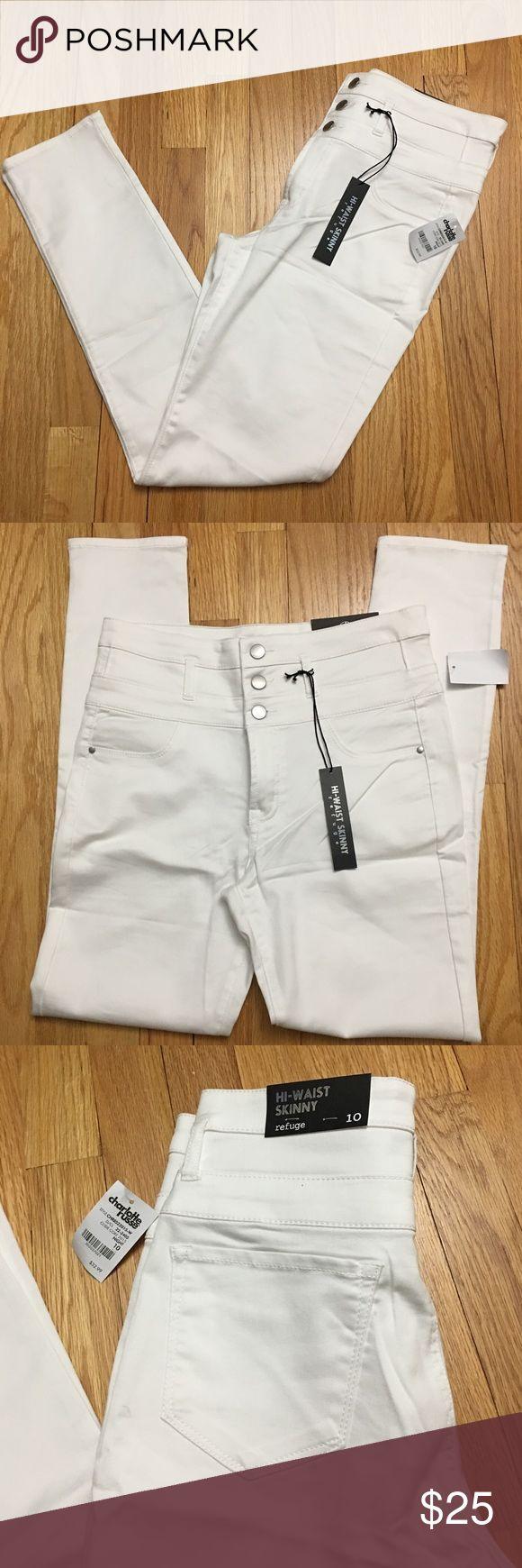 High Waisted White Skinny Jeans Charlotte Russe 10 NWT high waisted skinny jeans, Size 10 Charlotte Russe Jeans Skinny