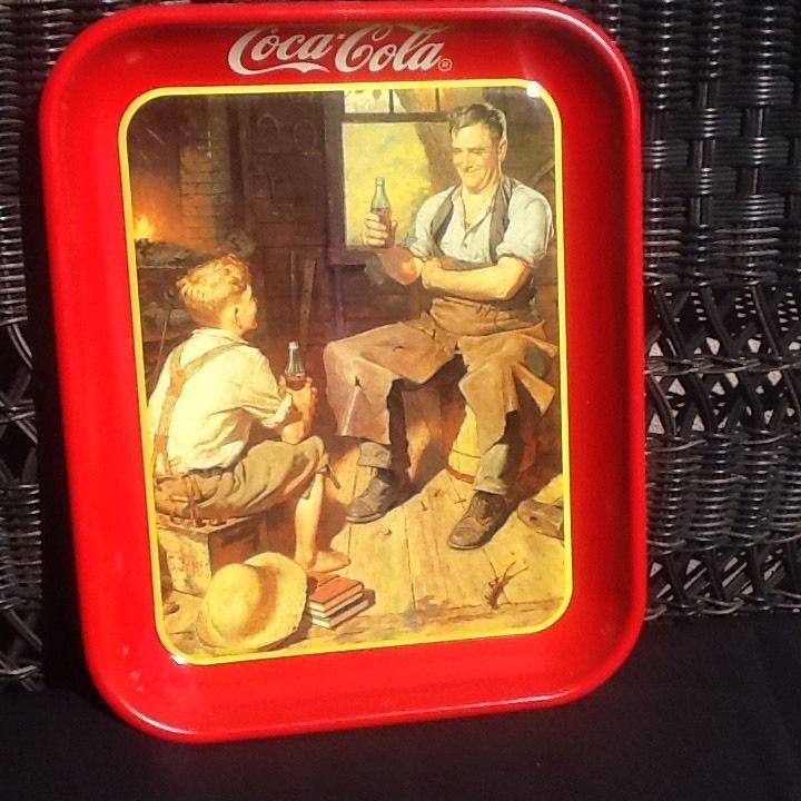 "A BLAST FROM THE PAST! CIRCA 1980'S ""VILLAGE BLACKSMITH"" COCA COLA PARTY TRAY #CocaCola"