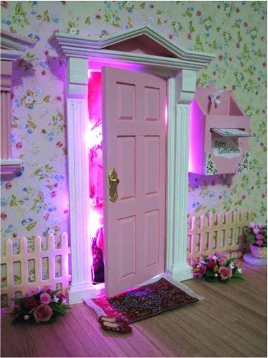 Open your fairy door to an illuminated fairy world scene for Fairy door kmart