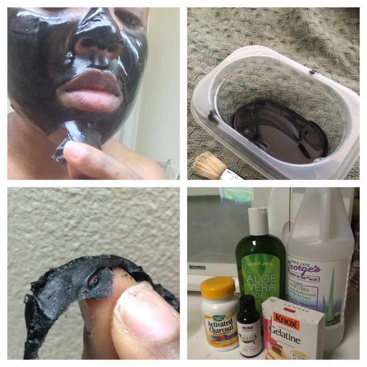 DIY Boscia Black Mask! Ingredients Gelatin, activated charcoal, tea tree oil, aloe Vera gel, aloe Vera juice. Combine all ingredients and microwave for 20 sec. Use brush to apply 2 layers to face and let dry for 10 mins. Peel off and see all the blackhea