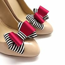 Kokardki 3D Fuksja&Stripes- klipsy do butów, buty