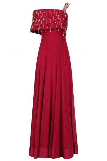 Seema Thukral Red Embroidered Off Shoulder Gown
