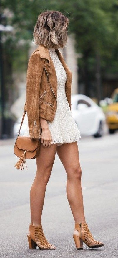 Camel Suede Biker Jacket, White Lace Romper, Camel Shoulder Bag, Camel Heeled Sandals | Jo & Kemp