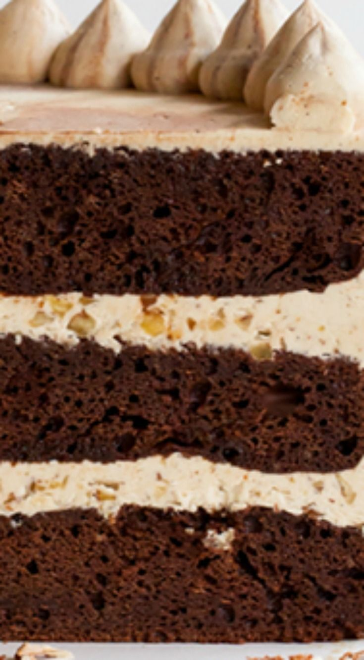 Chocolate Bourbon Pecan Cake ~ chocolatey cake with brown sugar buttercream infused with bourbon and pecans.