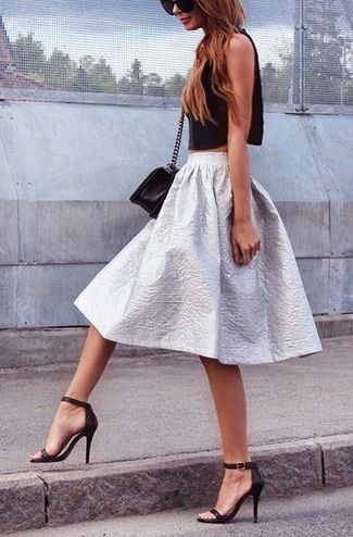 Women's Black Cropped Top, Black Leather Crossbody Bag, Silver Full Skirt, and Black Leather Sandals