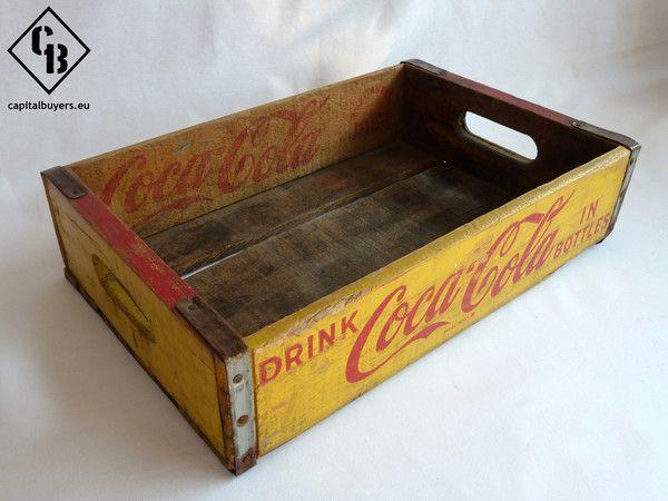 Antigua caja de madera para botellas Coca-Cola sin separadores - Años   Capital Buyers