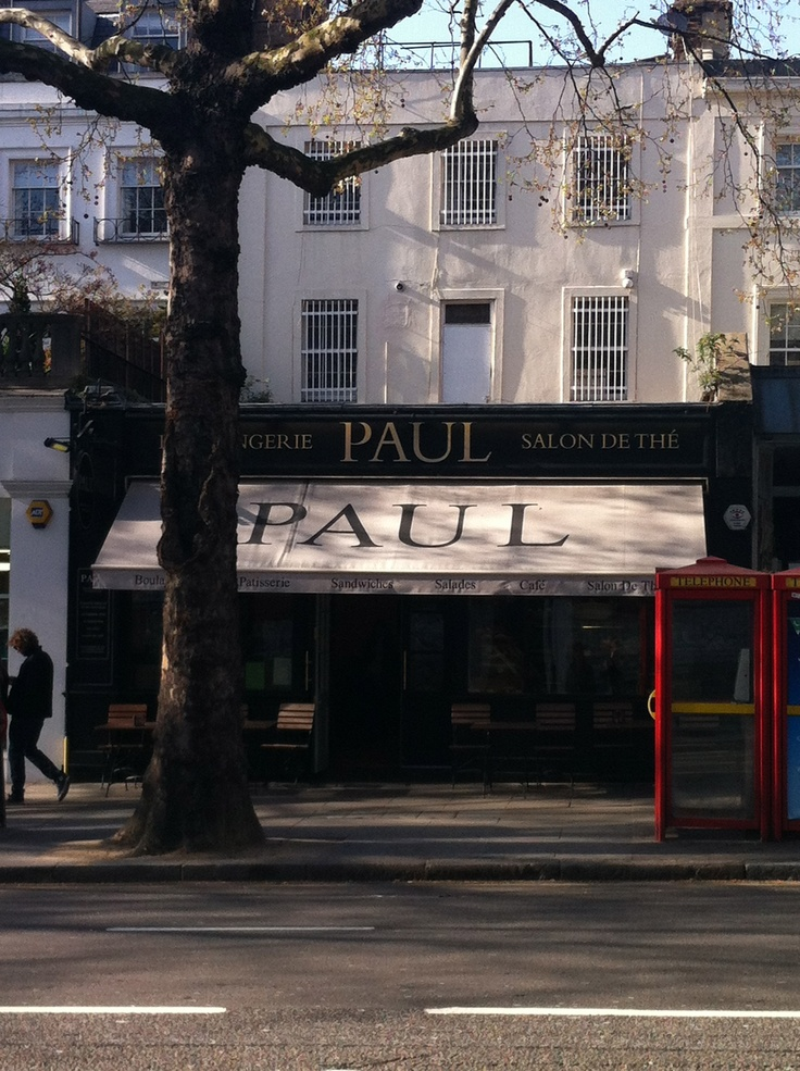 Holland Park Ave.   Paul - wonderful french bakery with fresh breads, sandwiches, quiche. Lots more. Delicious.
