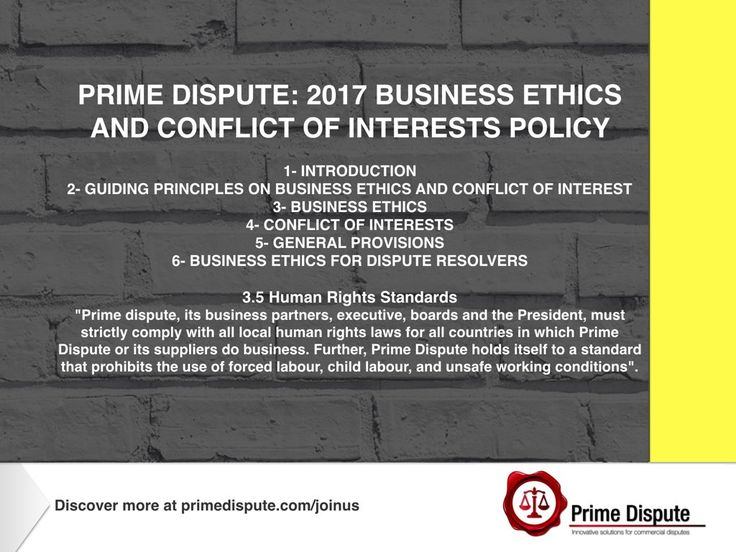 Article 3.5 The importance of #HumanRights are part of our business ethics & conflict of interests policy which support industry in understanding our #corporate #responsibility within the #DisputeResolution sector #ADR #Law #Legal #Membership https://www.primedispute.com/authority.html  #PrimeDispute