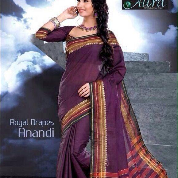 Purple Saree Cotton mix Saree with unstitched blouse Dresses