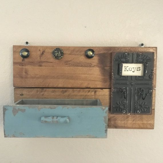 Rustic Key and Mail Wall Shelf by MixedImages on Etsy