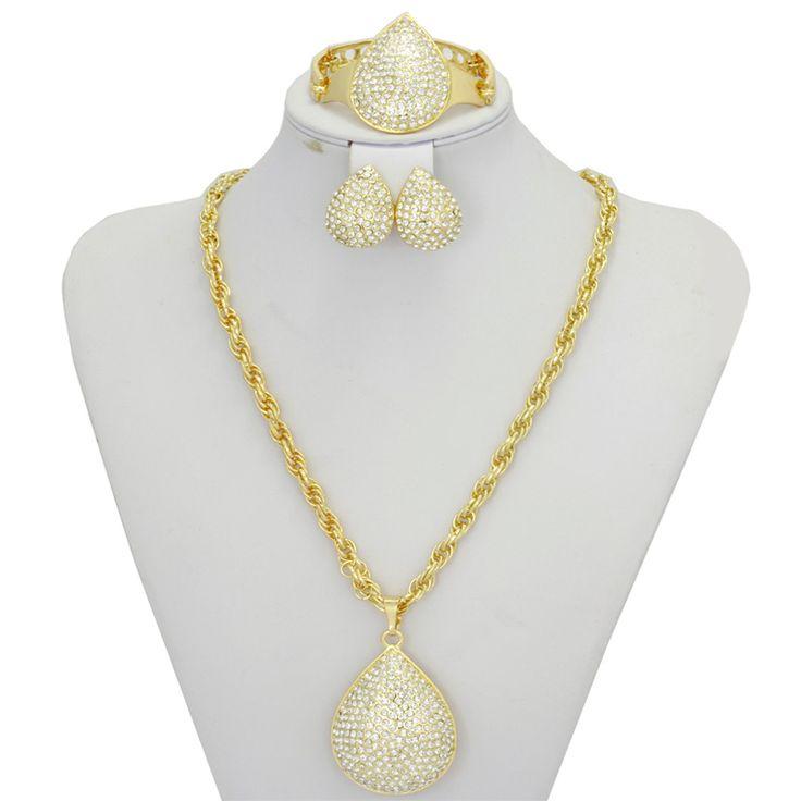 2016 New Gold Plated Pendant Jewelry Crystal Fashion Dubai Costume Big Jewelry…