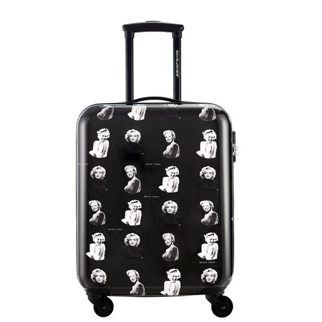 DAVIDJONES 20 inches hardside luggage vintage print trolly suitcase