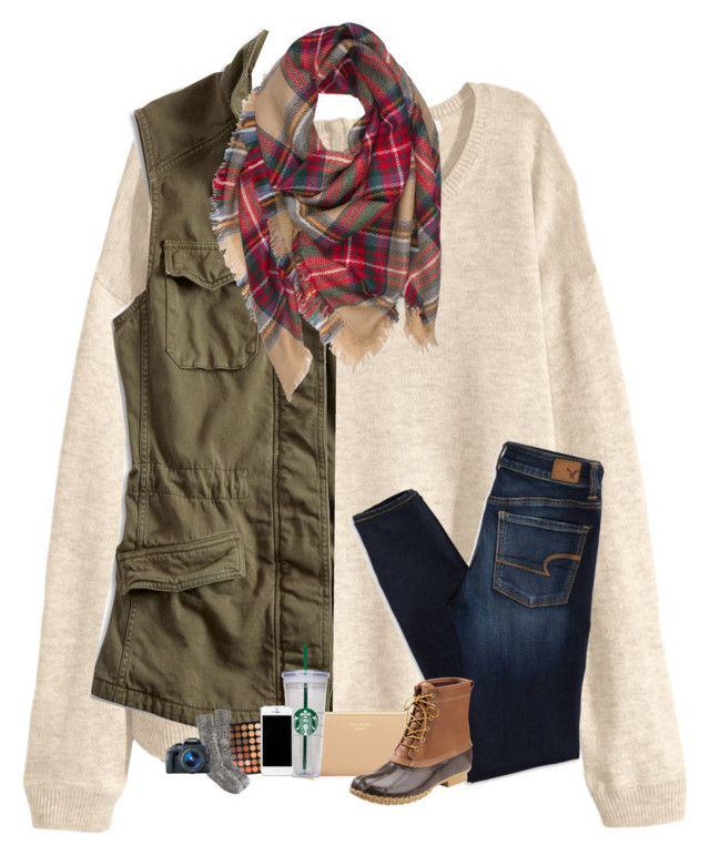 """Bean boots contest :-)"" by sanddollars ❤ liked on Polyvore featuring H&M, Lucky Brand, American Eagle Outfitters, Kate Spade, L.L.Bean, Morphe, J.Crew and Eos"