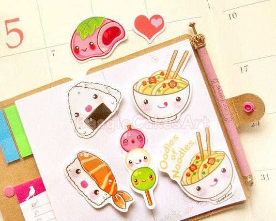 Stickers van Japans eten Sushi Stickers Noodle Stickers