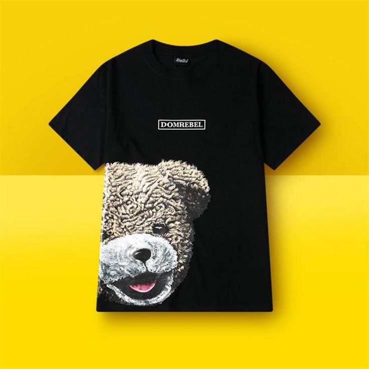 2017 New Summer Printed Bear Type Skate Shirts Mens Black Cosplay Sportwear Summer Skateboard Shirts Boy Skate shirt Tops