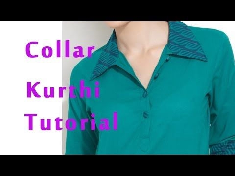 How to stitch band collar, How to sew band collar kurti, shirt collar kurti - YouTube
