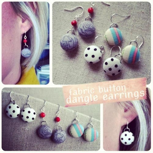 DIY fabric button earrings by Amy Cornwell