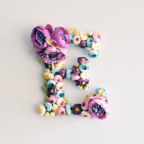 Fiore lettera viola peonie Nursery Decor lettera di shopkidday